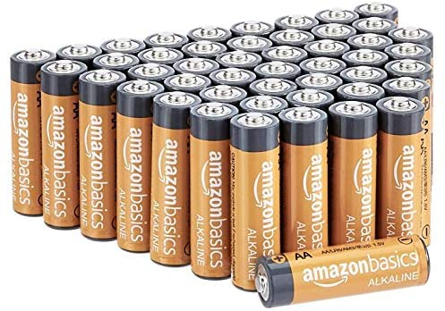 Amazon Basics 48 Pack AA High-Performance Alkaline Batteries, 10-Year Shelf Life, Easy to Open Value Pack