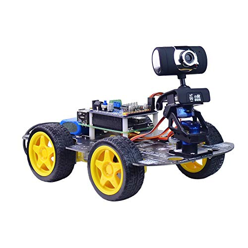 DS Wireless WiFi/Bluetooth Smart Robot Car Kit for Raspberry pi 4B(2GB), Remote Control Hd Camera 16G SD Card Robotics Smart Educational Toy Controlled by iOS Android App PC Software with Source Code