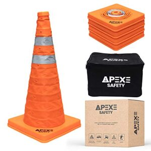 APEXE SAFETY Collapsible Traffic Cones, 19.5 Inch Pop Up Orange Cones, Construction Cones with 2 High-Intensity Grade Reflective Stripes, Waterproof Safety Cones with Durable Carrying Bag (4 Pack)
